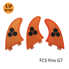 Free Shipping FCS G7 Surf Fins Fiberglass Honeycomb Logo Fins Pranchas de 5 Colors Available(China)