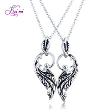 2pcs/set wings pendant necklaces women fine jeweler men personality couple charm chain necklaces gift for girls