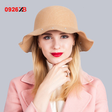 0926XB Women Wool Felt Hat Derby Church Wedding Cocktail Evening Party Wide Brim Bow Cap Dress Beanies Beret Hat with XB-D-648(China)
