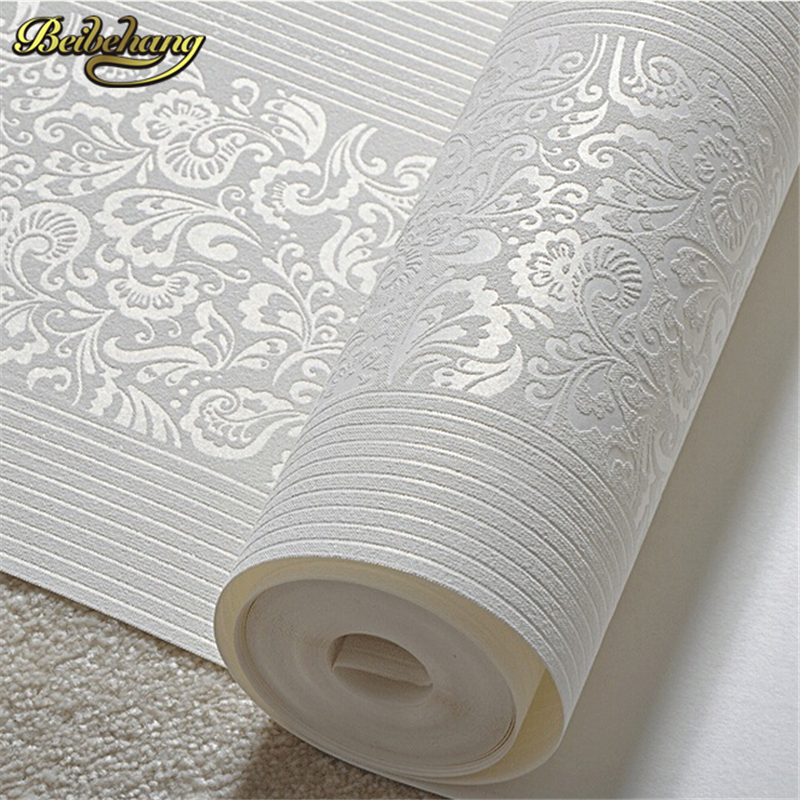 beibehang Home Improvement wall paper papel de parede 3d behang modern Non-woven Flocking Wallpaper Roll for bedroom background <br>