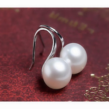 e087 2016 new fashion genuine freshwater earrings for women high quality Silver color dplating jewelry white/simulated pearl(China)