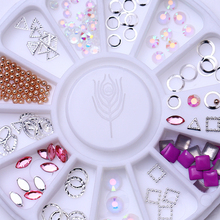 1 Box 3D Nail Art Decoration in Wheel Gold Silver Hollow Square Oval Circle Triangle Rhinestones Manicure Nail Accessories(China)