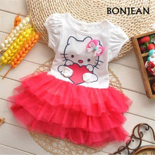 2017 Girls Summer Dresses Hello Kitty Cartoon Wings Tutu Dress For Girls Boys Princess Dresses Girls Enfant Clothing Dress