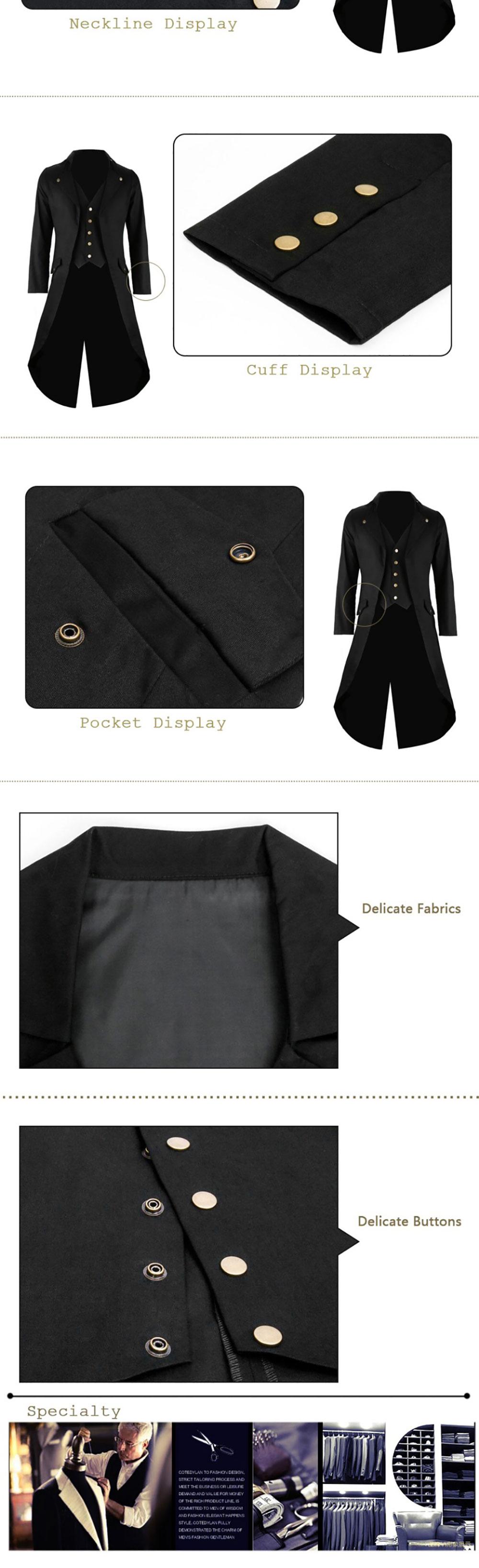 Men's Retro Gothic Steampunk Tailcoat Jacket Suit Halloween Costume