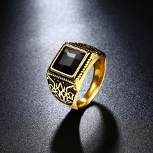 2016 Brand Jewelry Vintage Accessories Red / Black Square Crystal Carving Stainless Steel  Gold Rings For Men