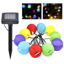 THGS 10 Garden Coloured Solar String LED Hanging Lantern Lights Set Chinese Party BBQ