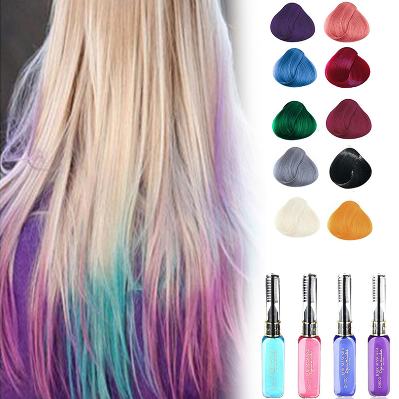 New Hot 10 Colors Hair Color Spray Cosplay Party Queen Temporary Vibrant Glitter Instant Highlights Streaks Mascara Dye Cream Z3(China (Mainland))