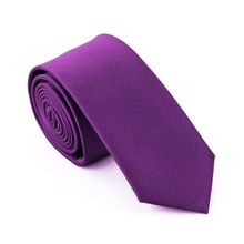 2017 Fashion Slim Tie Dark Purple Solid Plain Skinny Narrow gravata Silk Jacquard Woven Neckties For men 6cm width Casual E-002