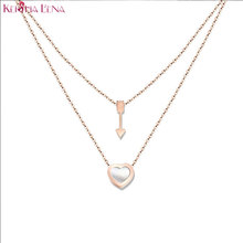 Keisha Lena  American Band Natural shells Piercing heart Necklace 316 stainless steel body chain bijoux necklace