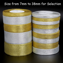 25yard/lot Handmade Glitter Golden Silver Ribbon Metallic Luster for Wedding Christmas Invitation Decoration Card Gift Warpping