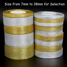 25yard/lot Handmade Glitter Golden Silver Ribbon Metallic Luster for Wedding Christmas Invitation Decoration Card Gift Warpping(China)