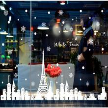 Reusable white town Christmas Window Sticker Self Clings Creative DIY Home Wall Shop Decorations Christmas Removable Art Decals