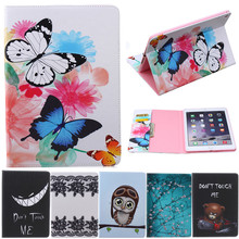 For Ipad5 Air Butterfly Owl Bear Cartoon PU Leather Flip Stand Cover Cases For Apple iPad Air ipad 5 Tablet Cover Case Fundas