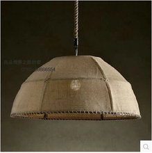 Retro rope chandelier chandelier lamp shade cloth cover semicircle cloth nostalgia linen Pendant