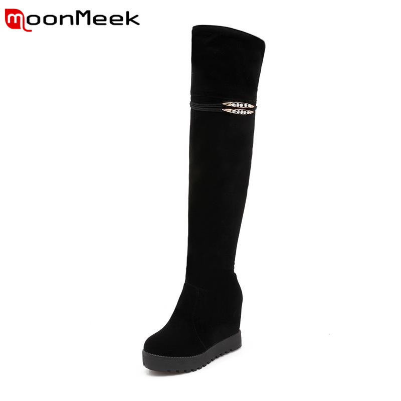 2017 new arrive platform rhinestone over the knee boots winter nubuck leather height increasing solid black women boots<br><br>Aliexpress