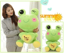 "stuffed animal lovely green frog about 50cm plush toy 19 inch"" i love you "" frog doll gift s7991(China)"