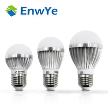 EnwYe LED Lamp Metallic E27 3W 5W 7W 9W 12W 15W 220V Real Watt LED Bulb Light Fast Heat Dissipation High Bright Lampada