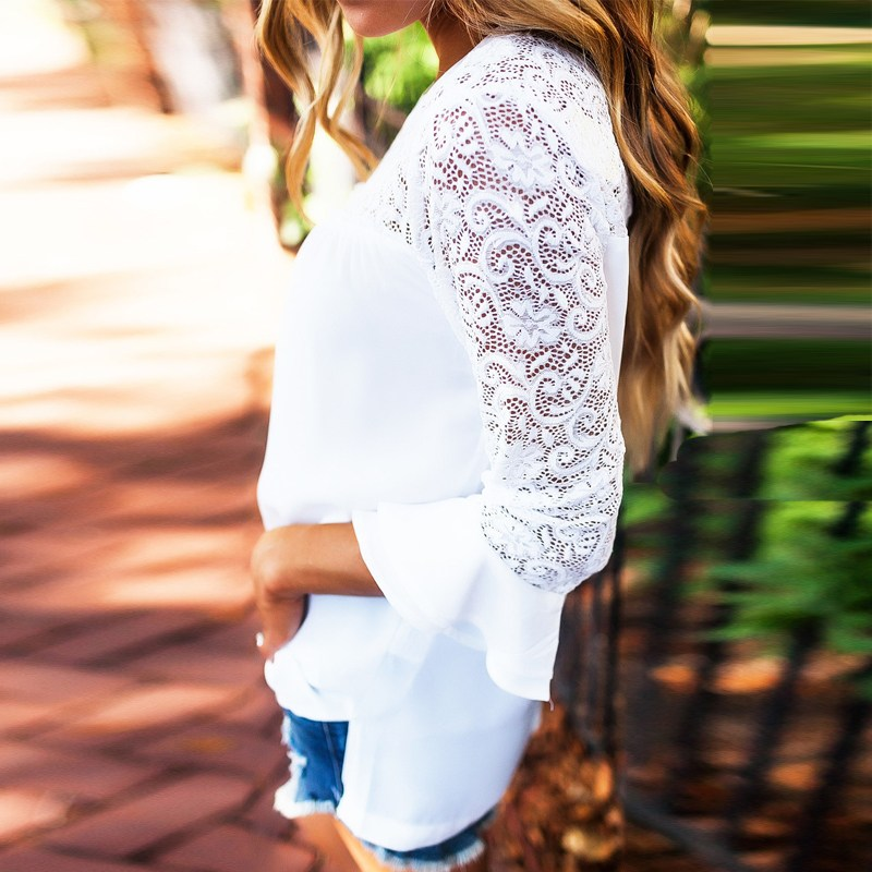 2018 ZANZEA Summer Women Blouse Elegant Lace Shirt O Neck Long Sleeve Patchwork Solid Beach Party Chiffon Shirt Loose Blusas 10
