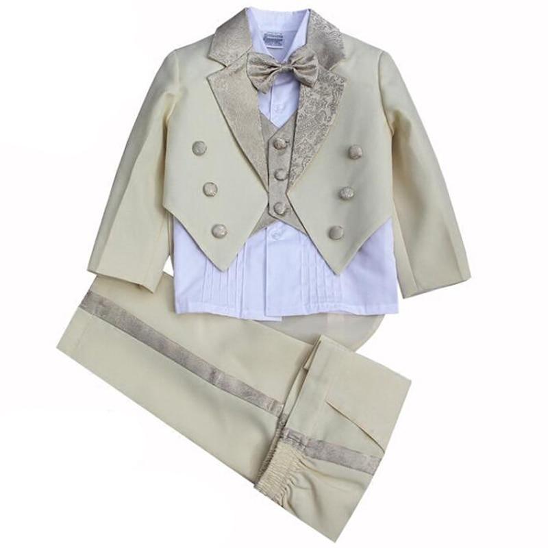 Kids Beige Wedding suits 5PCS Tails suit for Boys Formal Dress Tailcoat Vest Shirt bow tie and Trouser sets Child Tuxedos <br>