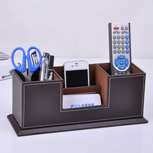 Leather desktop pen pencils box organizer card mobile stand case display office stationery accessories organizer storage de 202B