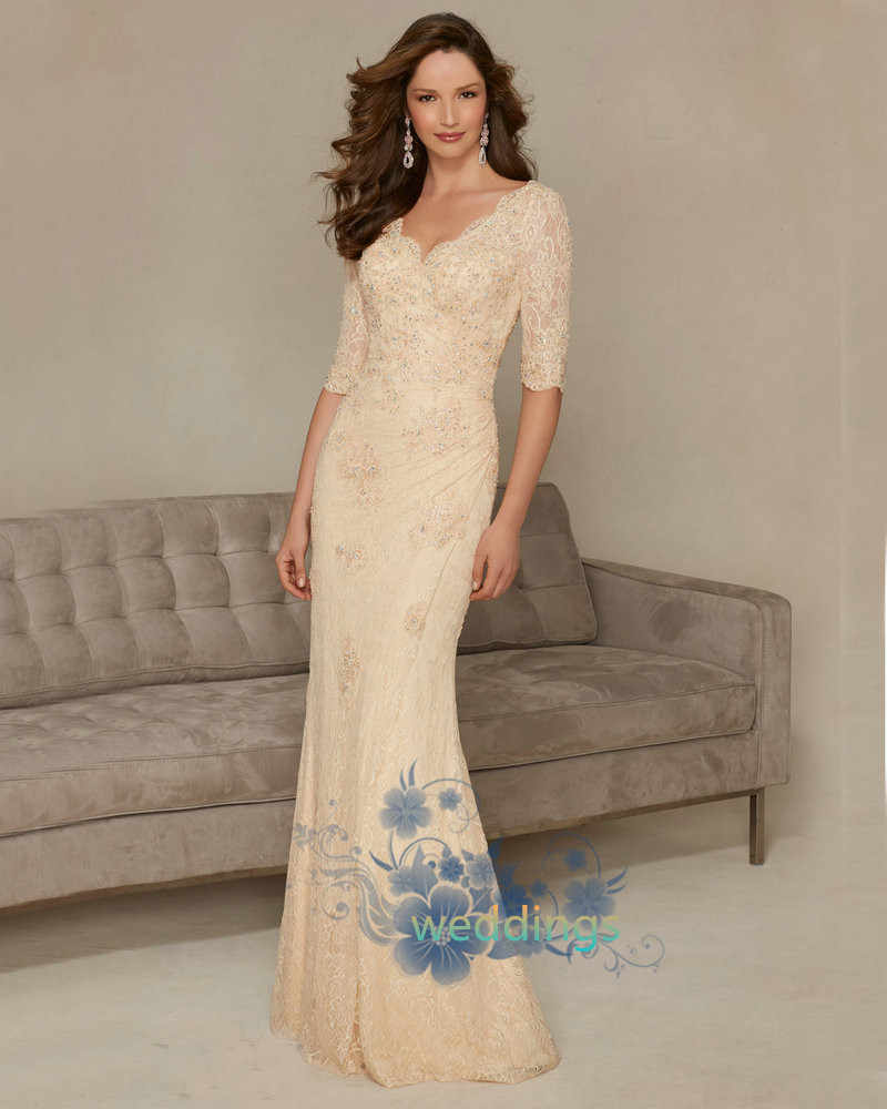 3e0b2f3ae1 Detail Feedback Questions about Champagne Brides Mother Dresses for  Weddings V neck Half Sleeve Mother of the Bride Dresses Lace appliques  Sweep Train 2016 ...