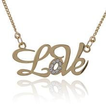 Yellow Gold Color Crystal Love Letter Chain Necklaces & Pendants Choker Necklace Women Fashion Jewelry Girls Kids Children