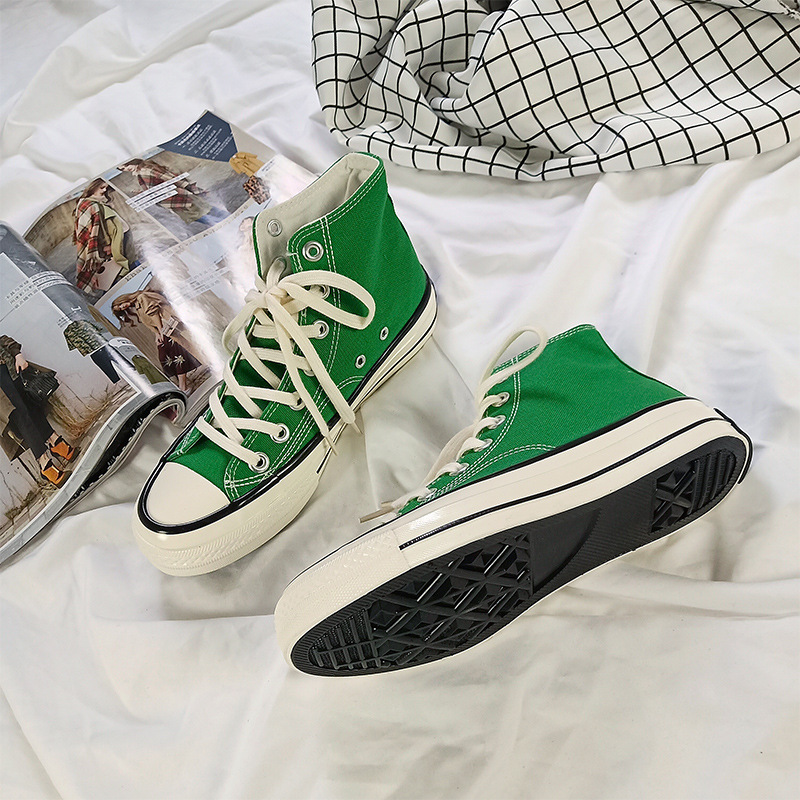 Women Chic Canvas Shoe Grass Green 1970s High-rise Classic Korean Street Canvas Shoe Basic Style Sneakers Lacing Skateboard Shoe