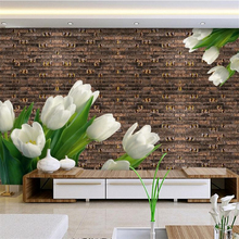 Custom 3d Brick Wallpaper Flower Wall Murals Environment Friendly Embossed Non-Woven TV Background Kitchen Bedroom Study Murals(China)