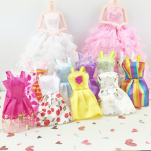 Hot 5 Pcs Mini Girl Baby Kids Dolls Sleeveless Dress Princess Fashion Clothes Dress Up Accessories Children Classical Toys 2016(China)