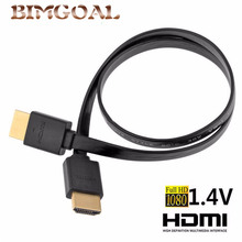 1.4Version High quality thin hdmi Flat cable Gold Plated Plug Male-Male HDMI Cable 1080p 3D 0.3m 0.5M 1M 1.5M(China)