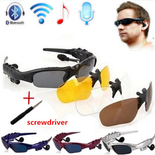 Three sets of bluetooth glasses lens Wireless Bluetooth 4.0 Headset Telephone Driving Sunglasses/mp3 Eyes Glasses(China)