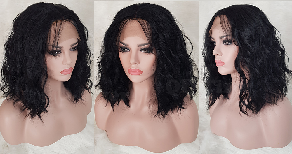 QD-Tizer Black Color Short Wavy Synthetic Lace Front Wig Glueless with Baby Hair Loose Wave Heat Resistant Synthetic Lace Front Wigs5