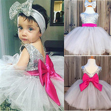 Toddler Kids Newborn Baby Girls Sleeveless Silver Sequins Lace Voile Ball Gown Large Bow Mini Dress Party Pageant Dresses