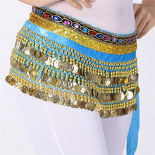 Belly Dancer Hip Scarf Hipscarf Gold Coins Practice & Perform Bollywood Costume 248Coins