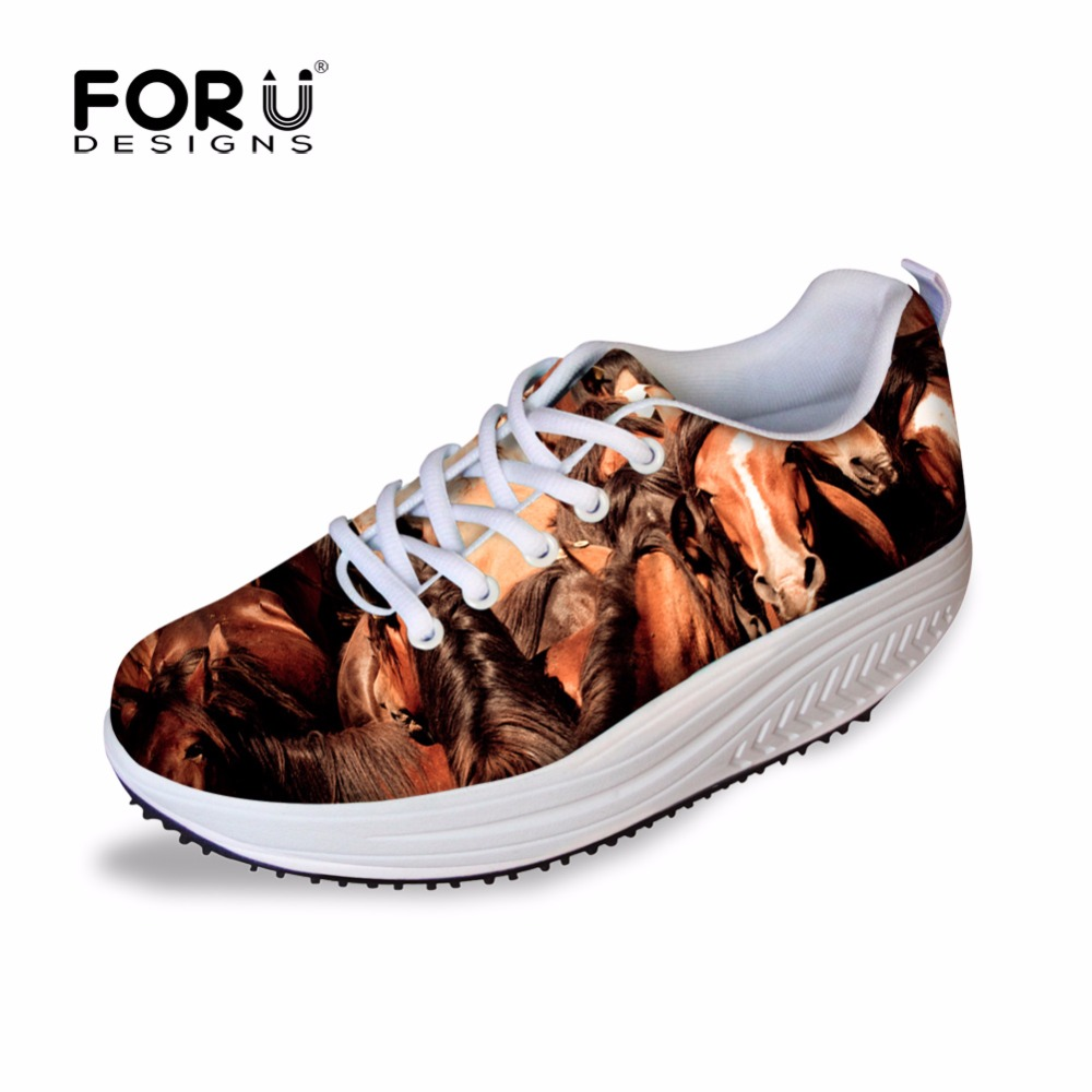 FORUDESIGNS Crazy Animal Horse Womens Casual Swing Shoes Autumn Lace-up Slimming Shoes for Ladies Breathable Mesh Shoes Mujer  <br>