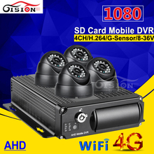 4G GPS Wifi Security Surveillance System AHD Car Mobile Dvr 4CH Video Input Camera Recorder kits Motion Detection Cycle Record(China)