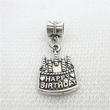 20pcs/lot Silver Happy Birthday Cake Charms Big Hole European Beads dangle charms diy fashion bracelets  jewelry accessory
