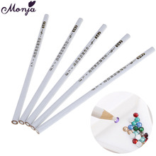 5pcs/set Nail Art Rhinestones Gems Pick Up Wax Pencil Sequins Beads Diamond Crystal Dotting Self-adhesive Picker Pen