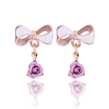 New Party brincos Jewelry New Fashion Bow Earrings Stud Rose Gold Color With Austrian Full Crystal Earrings For Women e0189