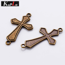 Antique Bronze Metal Zinc Alloy Cross Charms Connectors for Bracelets Making Diy Jewelry Handmade Craft 30 Pieces/lot C5489(China)