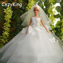 CXZYKING Handmade Barbie Clothes With Butterfly Fashion Barbie Doll Accessory Wedding Mesh Barbie Dress(China)