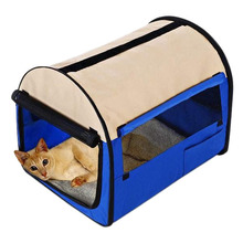 Portable Carry Oxford Folding Pet Dog Soft Carrier Cage Home Crate Case Blue
