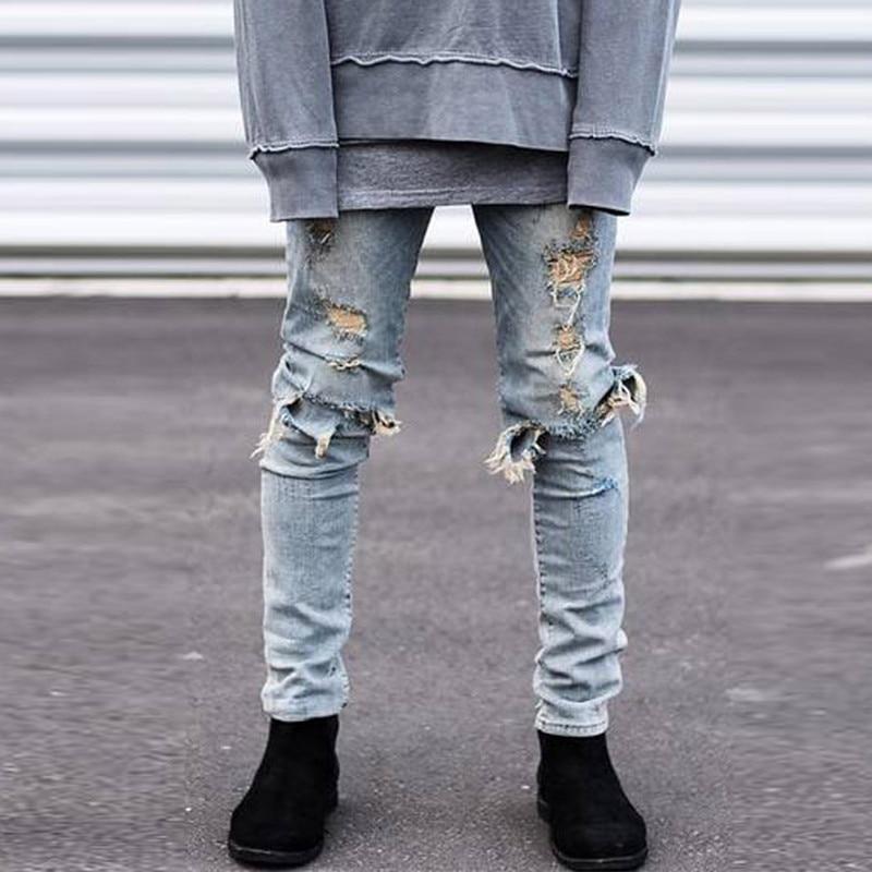 Men Jeans Destroyed Ripped Jeans Mens Hip Hop Zipper Biker Denim Pants Justin Bieber Ripped Hip-Hop Men Jeans hommeÎäåæäà è àêñåññóàðû<br><br>