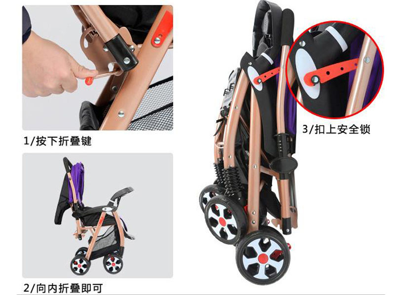 Newborn Baby Stroller 3 In 1 High Landscape Folding Car Seat Travel Convertible Handle Portable Lightweight Pram Pushchair Buggy