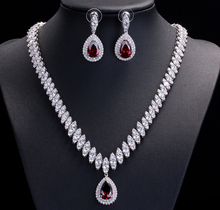 Unique design Cubic Zirconia stone CZ necklace earring luxury jewelry sets for wedding bride/party,bridal jewelry accessory