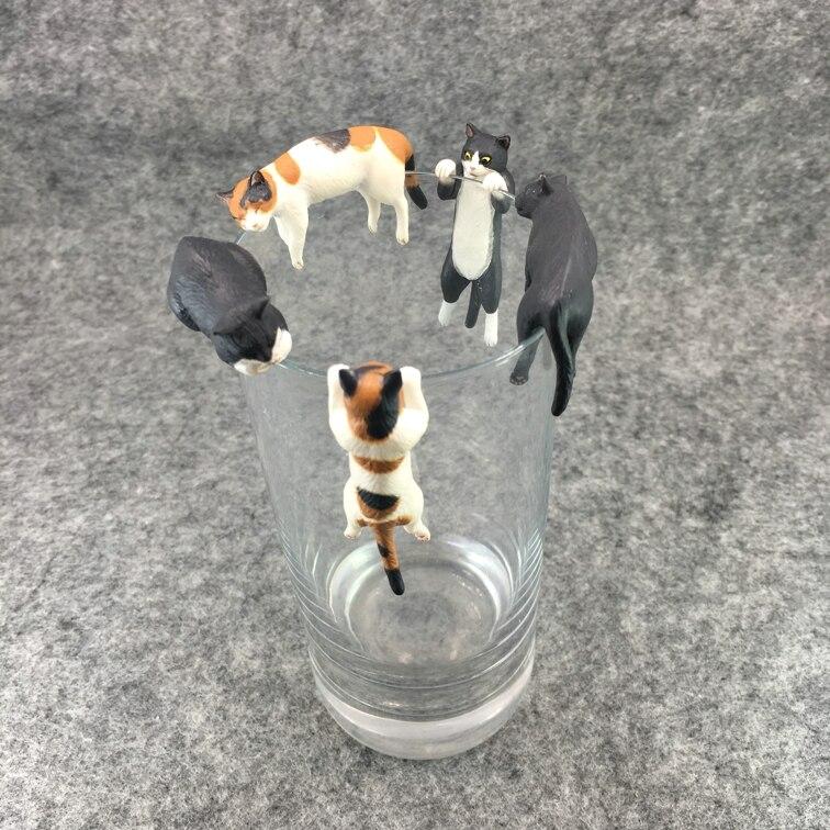 mini 3cm pvc  figure cup toy    cat  4pcs/set  mini  figure   ornament<br>
