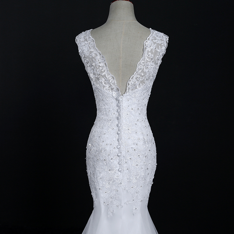 Fansmile New Arrival Lace Mermaid Wedding Dresses 2017 Plus Size Bridal Alibaba Wedding Dress Real Photo Free Shipping FSM-144M 9