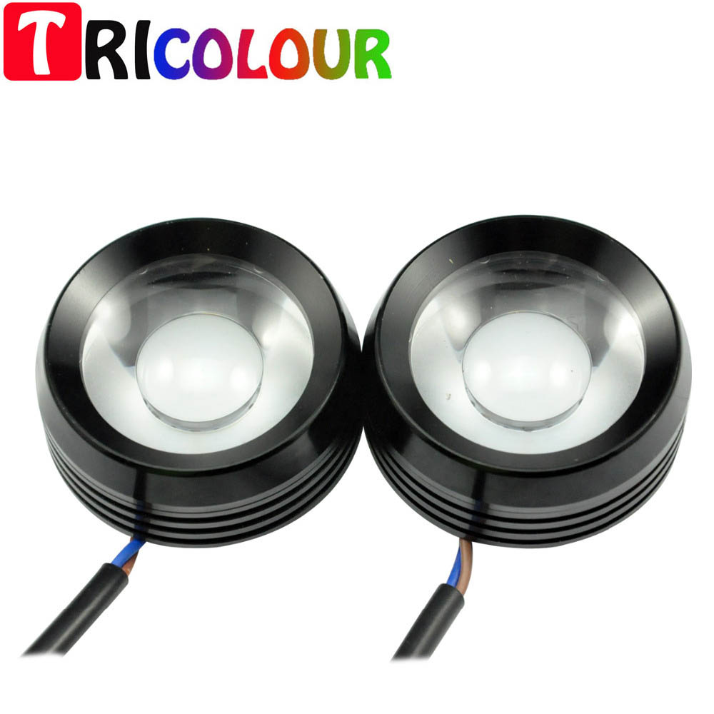 Strobe Flash 12W Super Bright BLUE RED Eagle Eyes DRL Cow Eyes Warning Light with Lens for Universal Car Screw 1set/lot  #TM26-1<br>