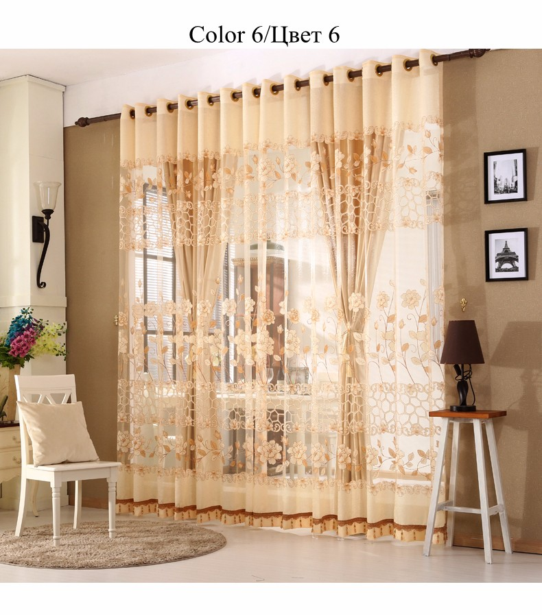 European Royal Curtains 11 Colors Embroidered Voile Curtains for Living Room Drapes Crystal Beaded Curtains Sheer (1)