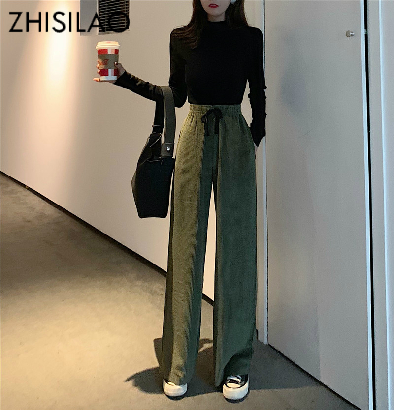 Wide Leg Loose Women Pants High Waist Trousers Women Solid Black Corduroy Pants Mujer 2019 Chic Pantalon Femme Vintage Casual
